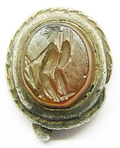 Ancient Roman Carnelian Gemstone Medieval Silver Pendant