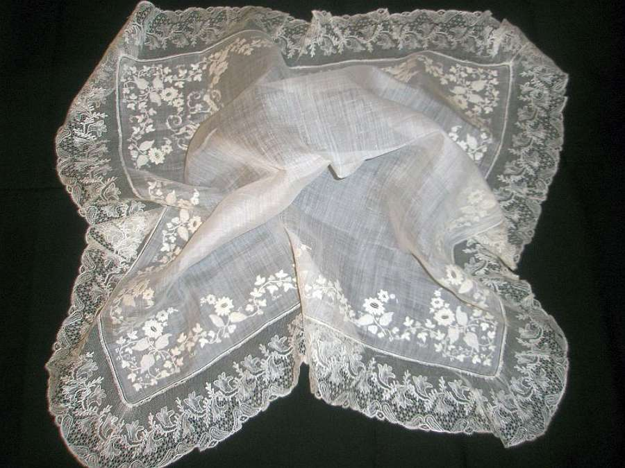 Antique fine embroidery and lace handkerchief ca. 1860