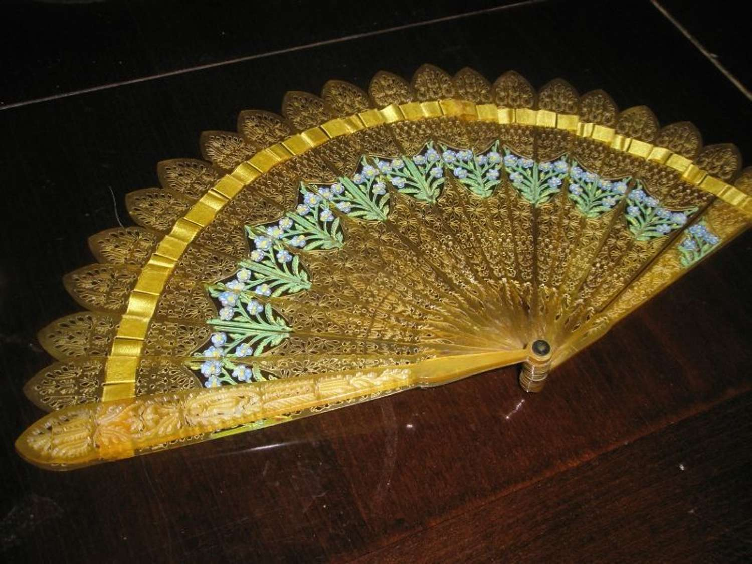 REGENCY TORTOISESHELL CARVED AND PAINTED FAN - ENGLISH ca. 1815