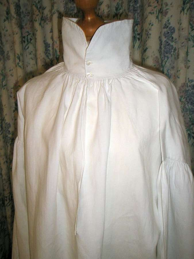 A fine linen Regency gentleman's shirt dated 1821