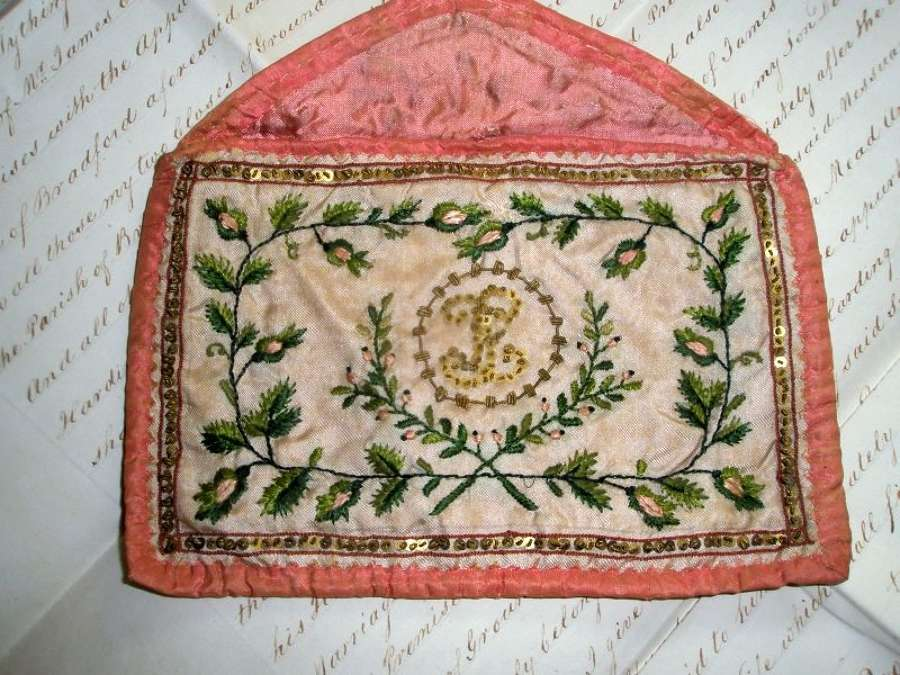 A silk embroidered ladies' note case. French ca. 1780