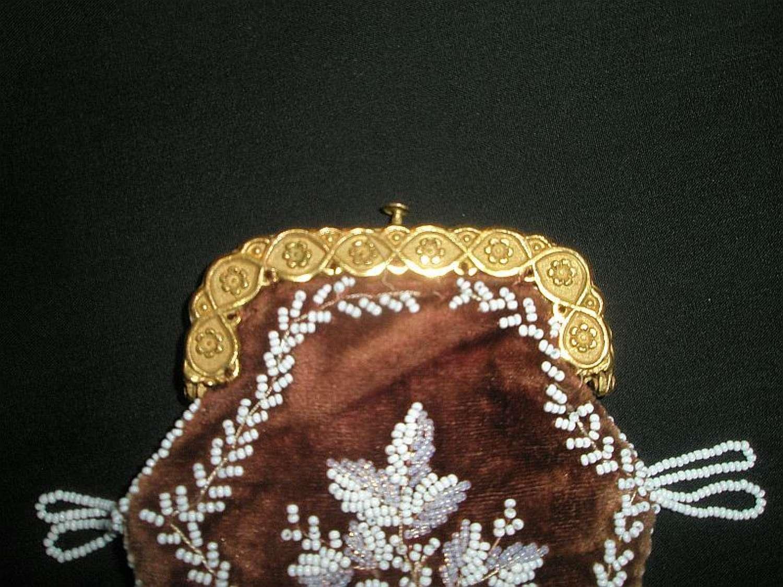 Regency soft red velvet purse with white beading ca. 1820