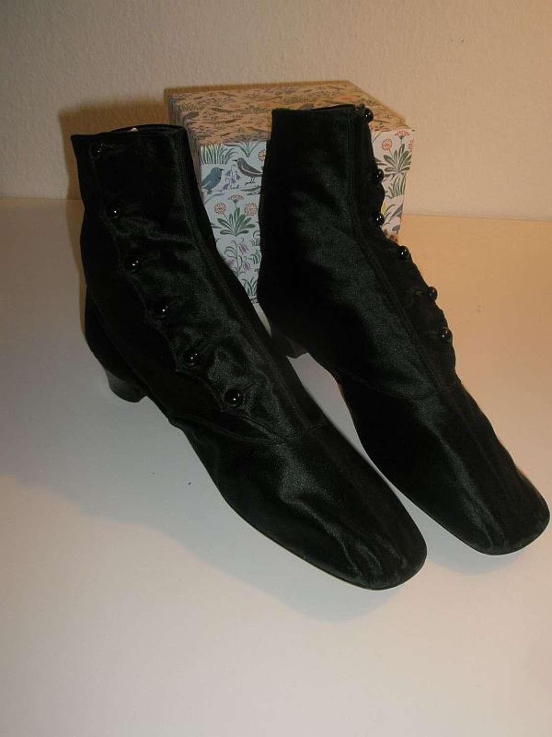 Beautiful black silk ladies' afternoon boots. French ca. 1860