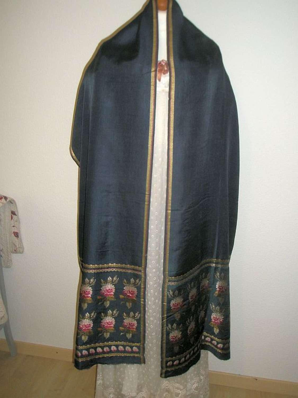 A muted blue silk floral Spitalfields shawl ca 1810