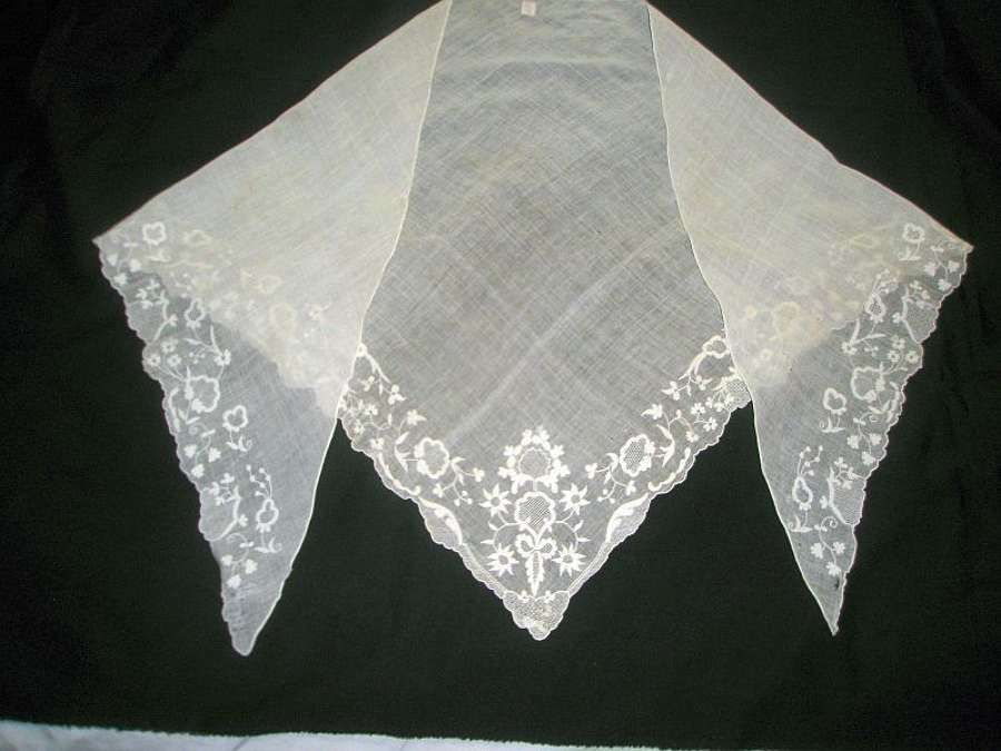 Pretty fine muslin embroidered fichu. English ca.1780