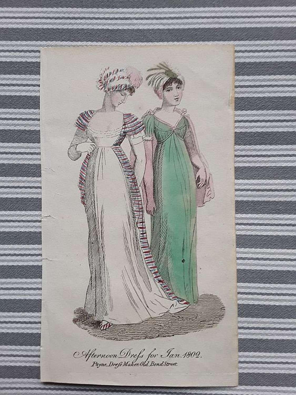 Antique fashion print hand coloured. London 1802