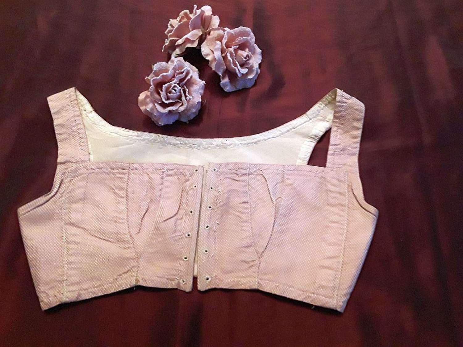 Rare early 19th century pink silk corselet bodice ca.1810