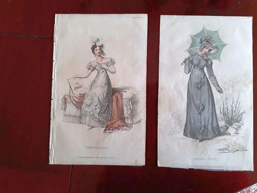 A beautiful pair of Ackermann fashion prints early 19th century