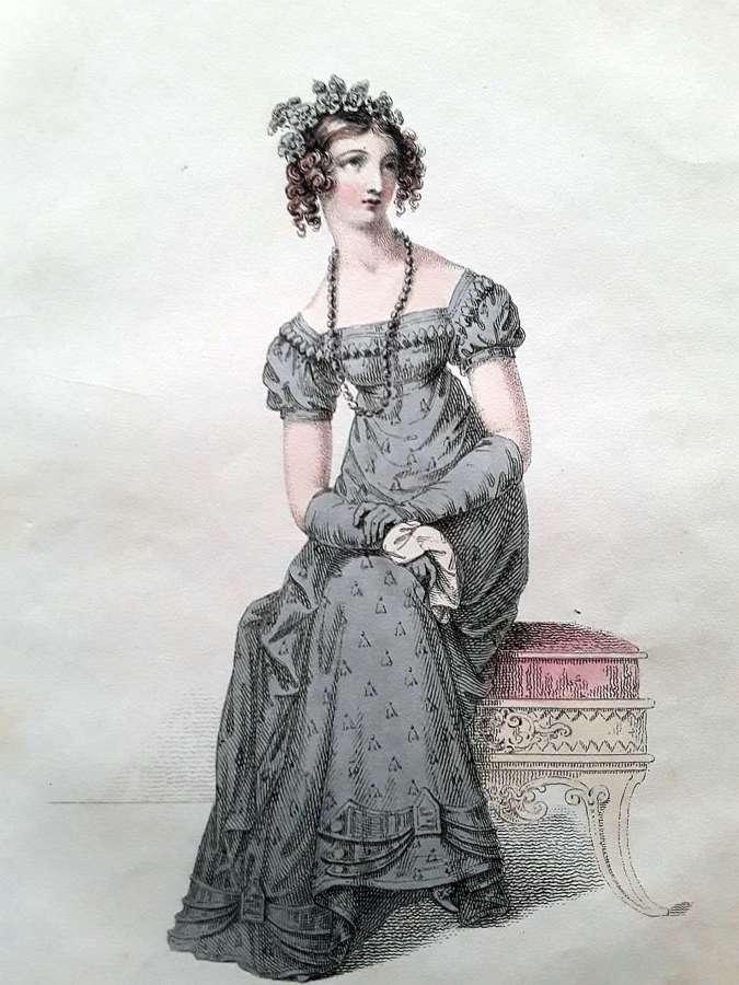 A Beautiful pair of Ackermann antique fashion prints 1821 - 1822