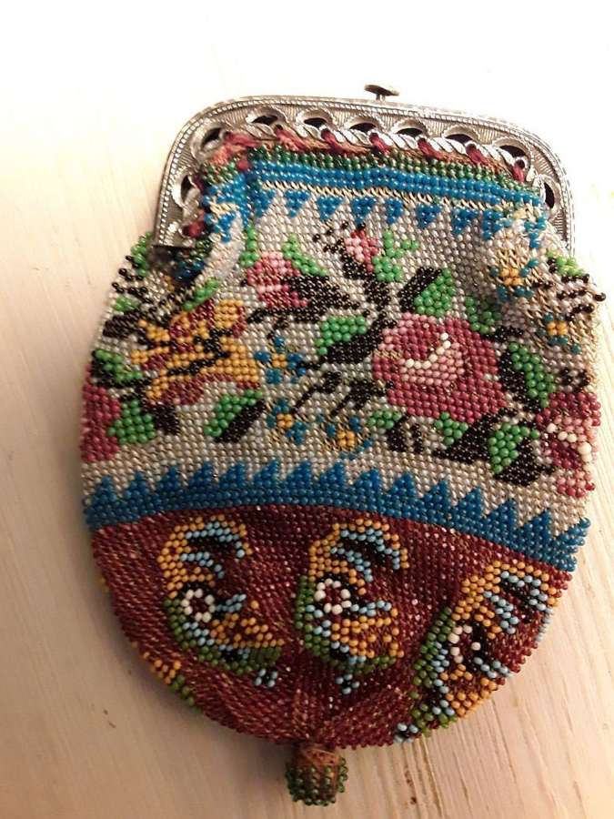 Pretty antique Regency beaded coin purse. England 1815