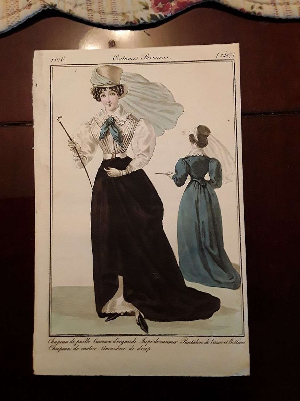 Superb and rare antique French  equestrian fashion print  1826