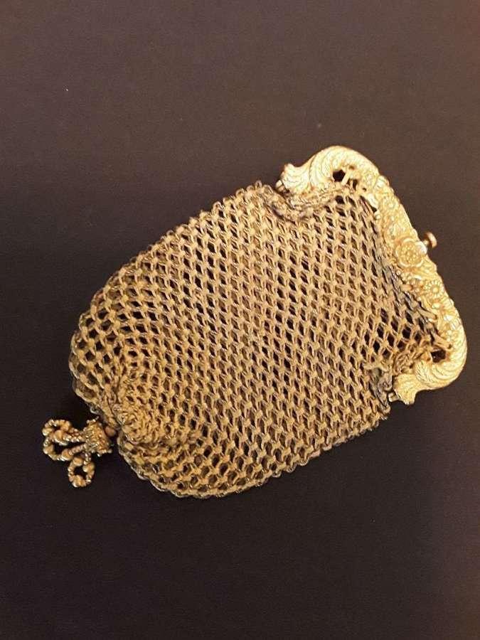Regency period silk coin purse. English or French ca. 1820