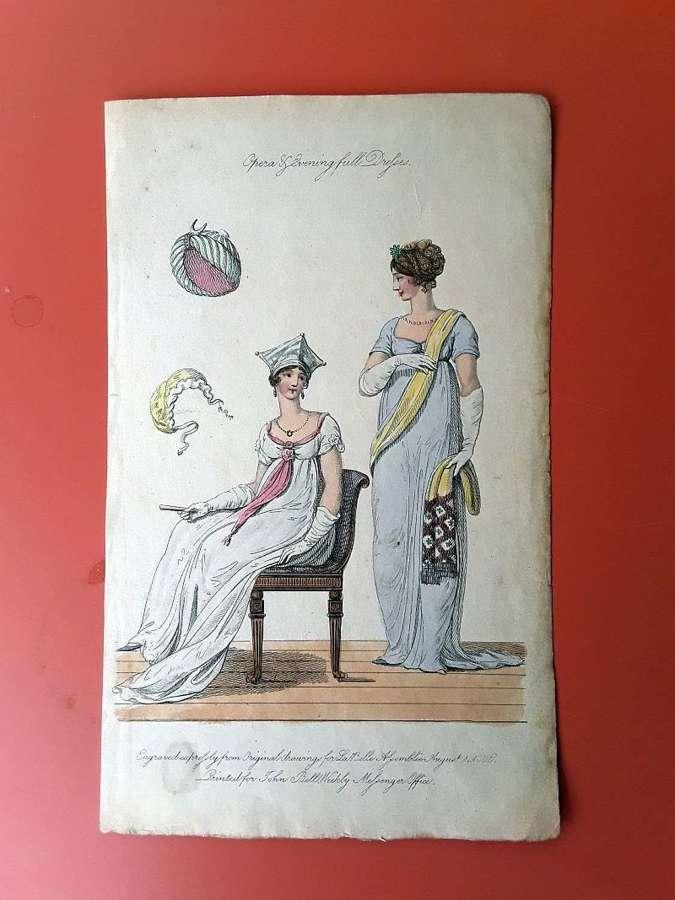 An unusual and beautiful antique fashion print. English ca.1810