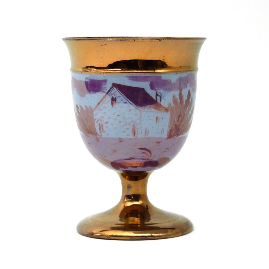 Copper and Pink Lustre Goblet