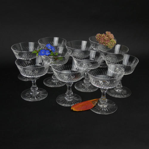 Set of Crystal Champagne Coupes