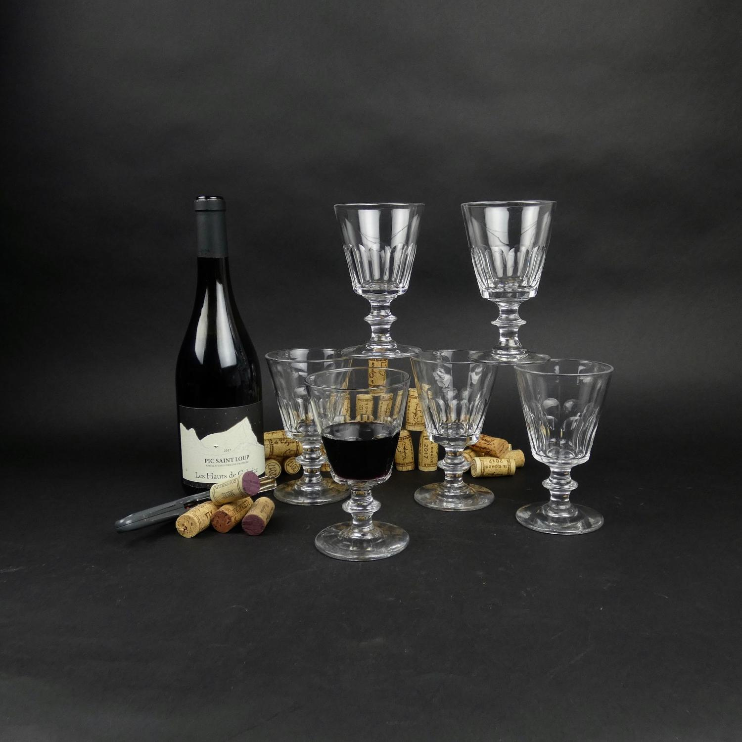 6 French crystal wine glasses