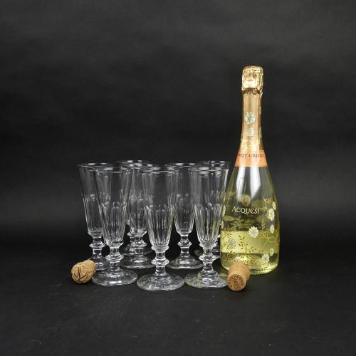 8 French crystal champagne flutes