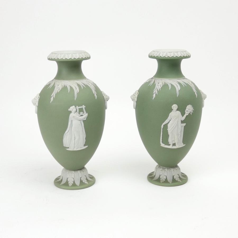 Fine pair of green jasper vases.