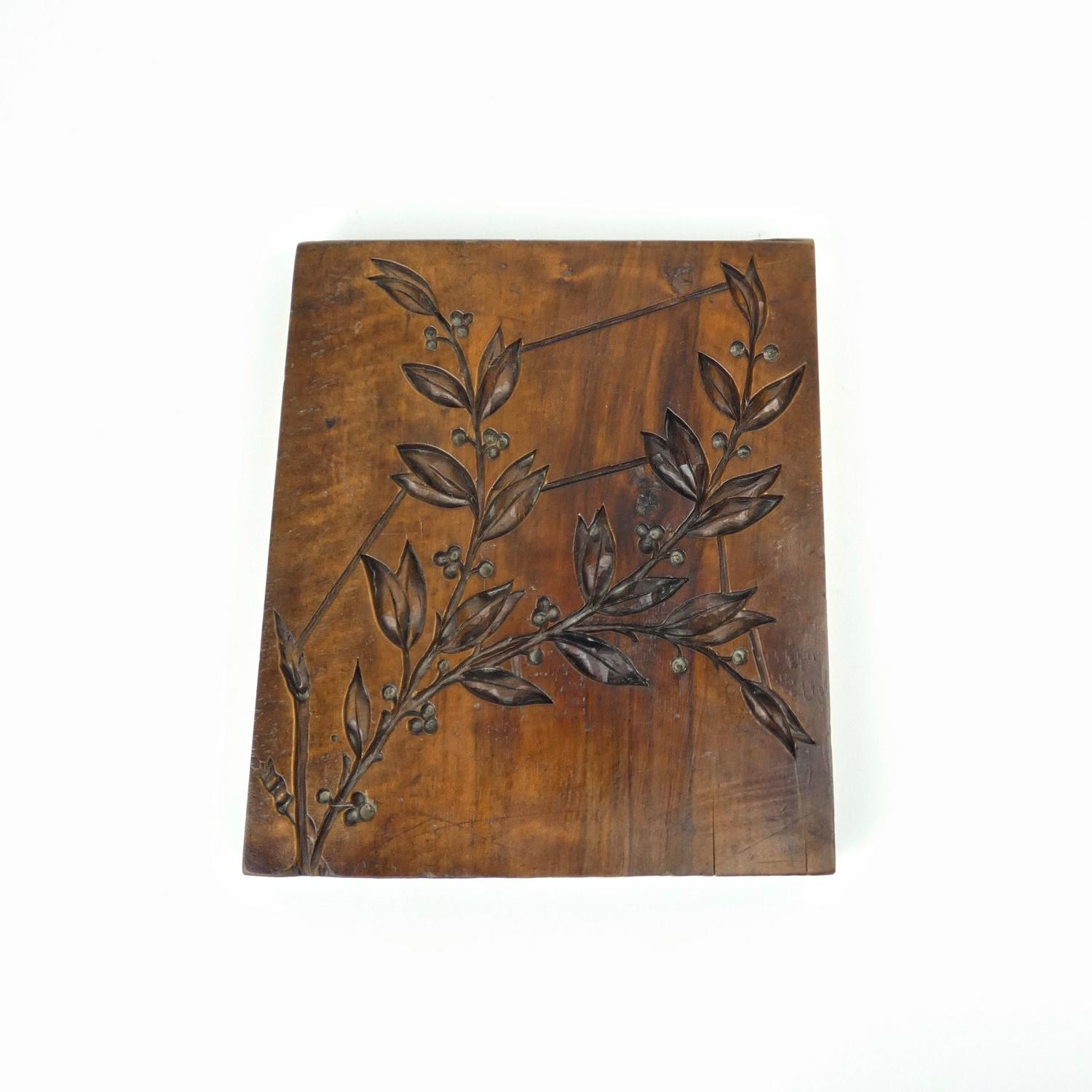 Gesso mould carved with laurel.