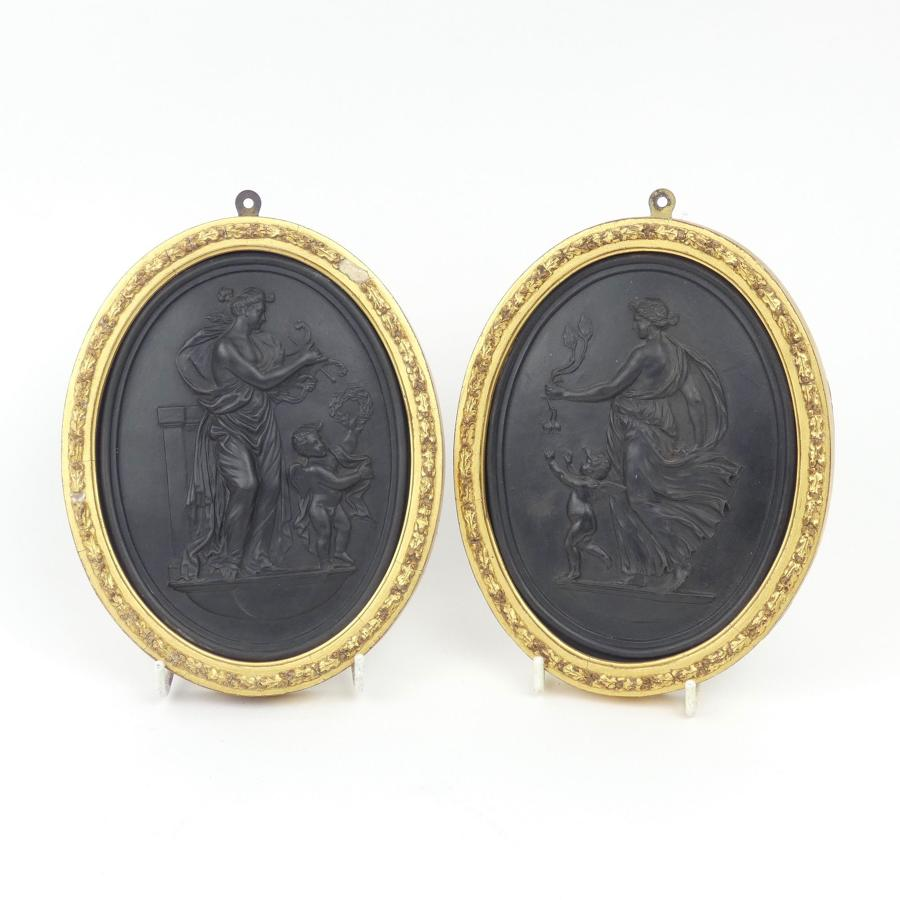 Pair of plaques 'Night and Day'