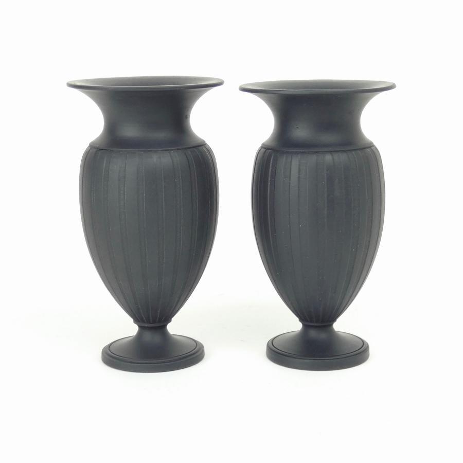 Engine turned basalt vases