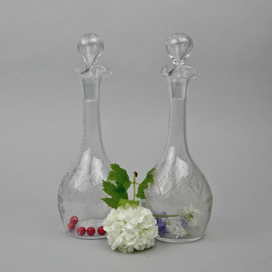 Pair of small, French glass decanters