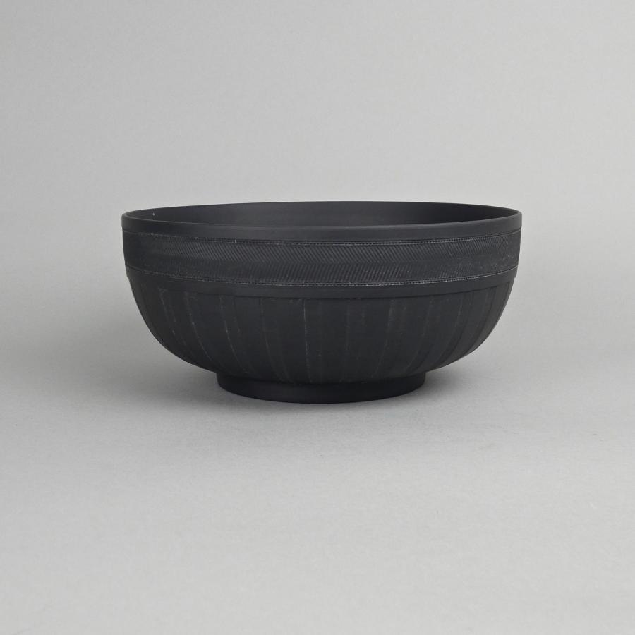 Engine turned basalt bowl