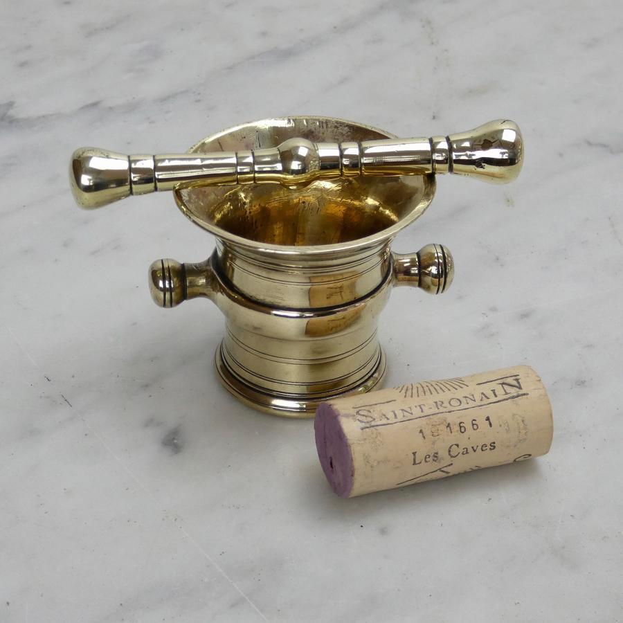 Miniature, brass mortar and pestle