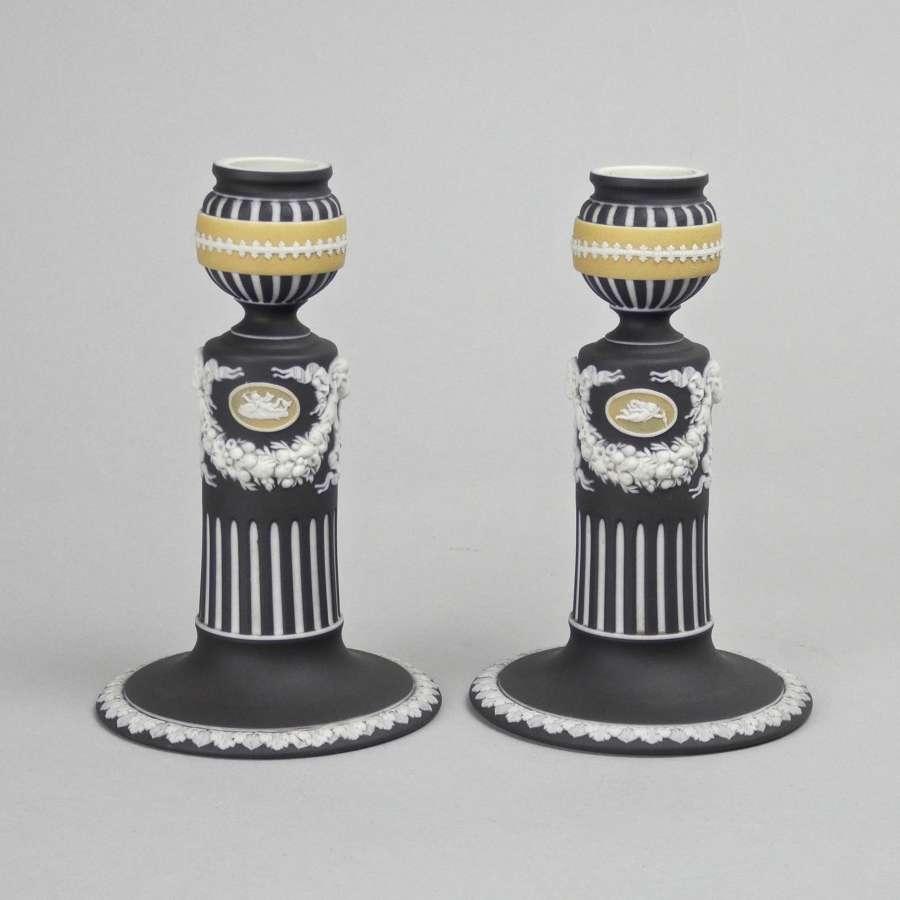 Rare, three colour jasper candlesticks