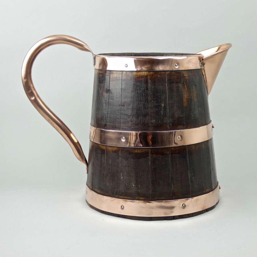 Coopered wooden cider or ale jug