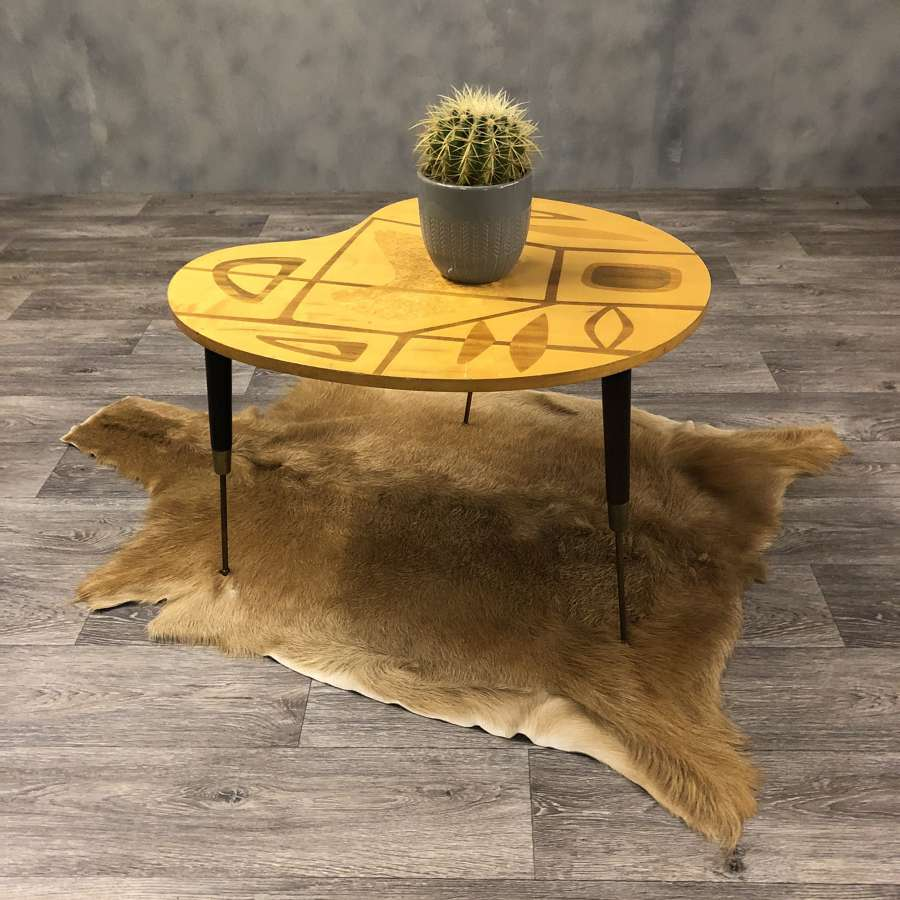 Midcentury marquetry table