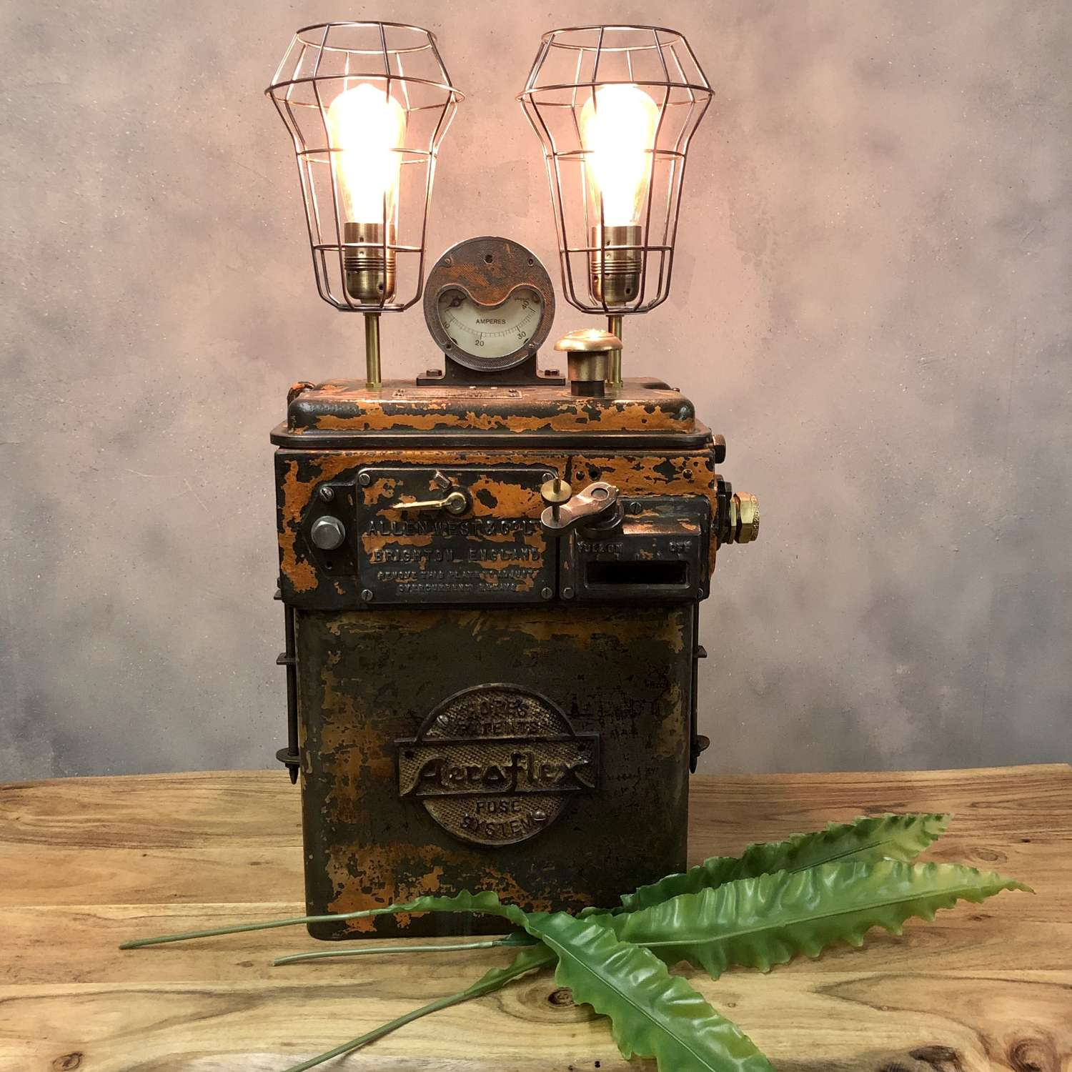 Converted switch gear industrial table lamp