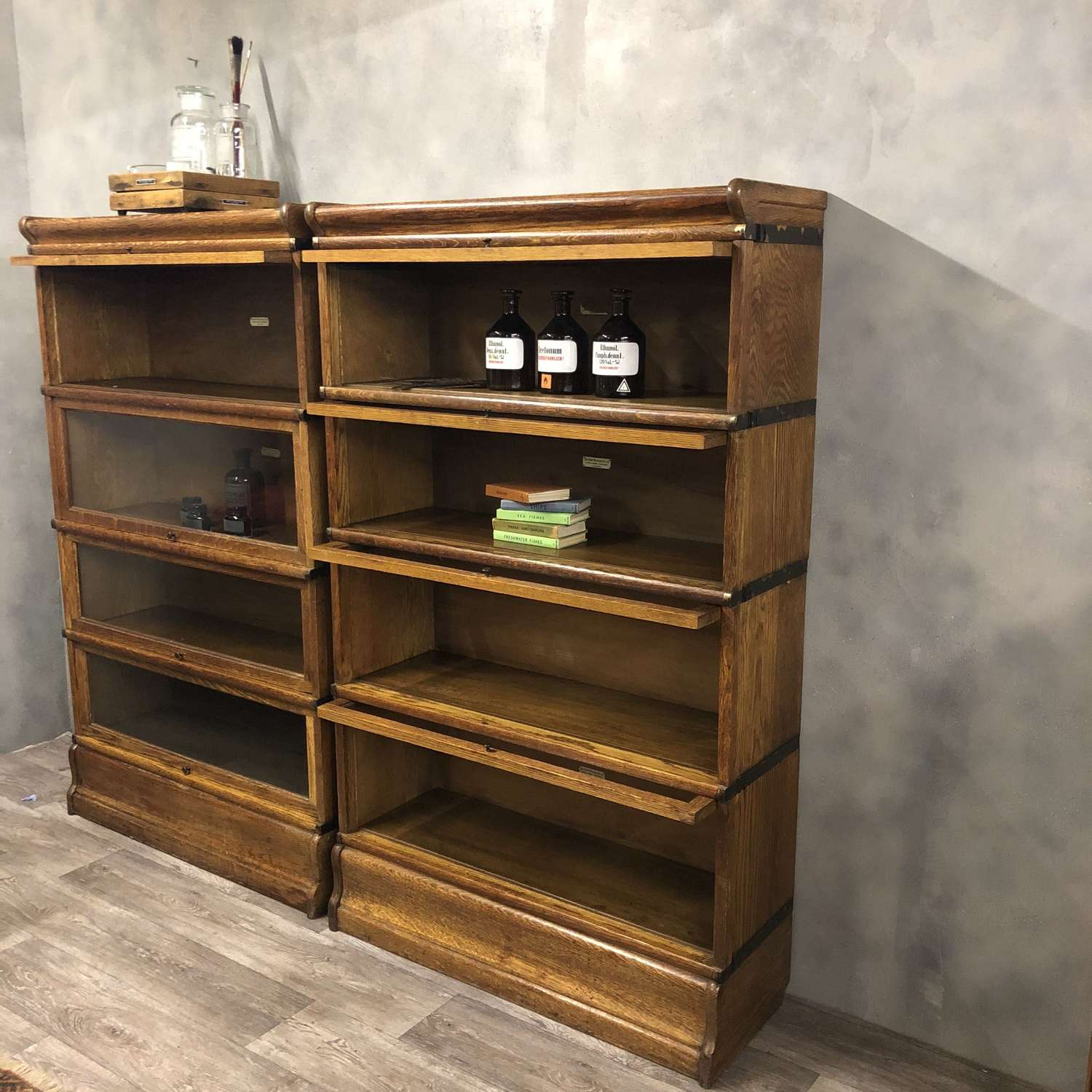 Oak Globe Wernicke stacking bookcase. 1 STACK AVAILABLE