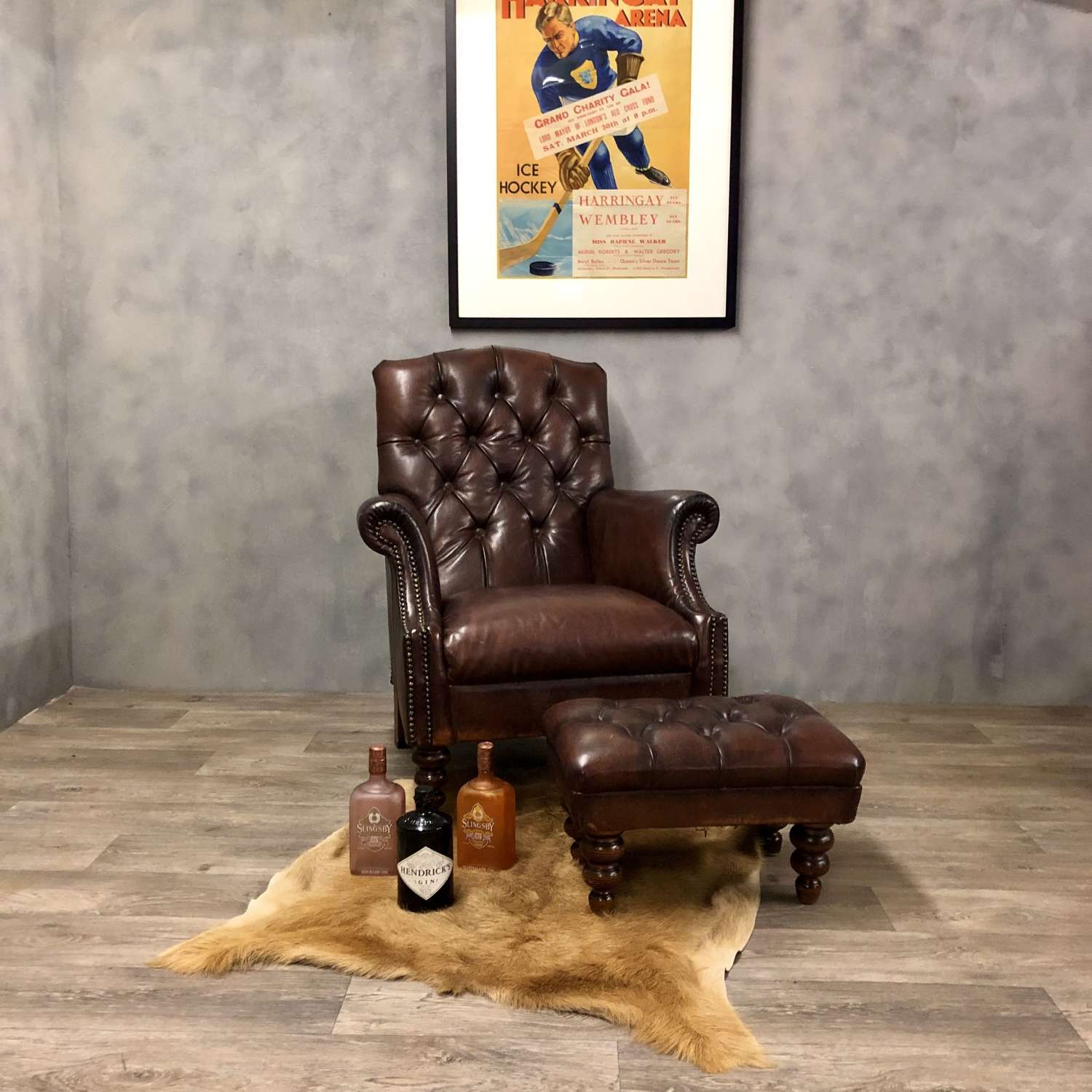 Tetrad leather club chair and footstool