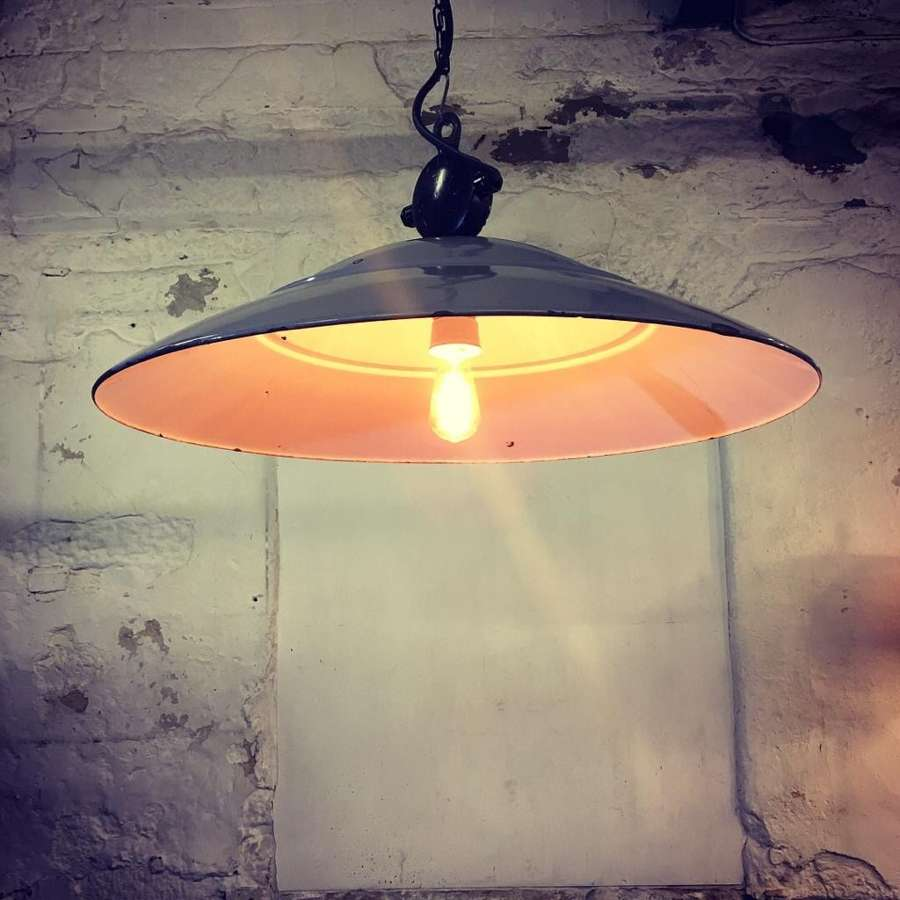 Industrial Pendant Light 1920s philips grey