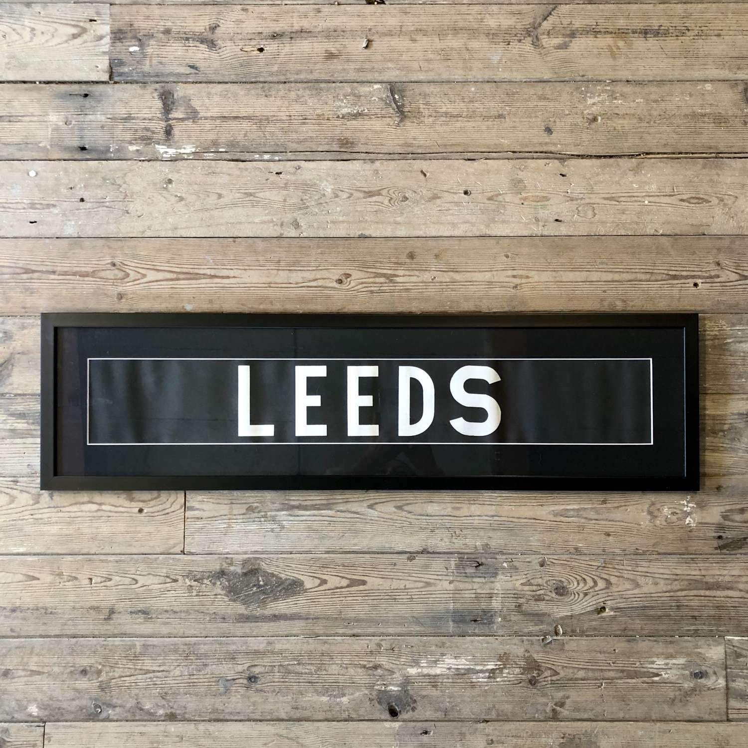 Vintage bus blind 'Leeds' Framed