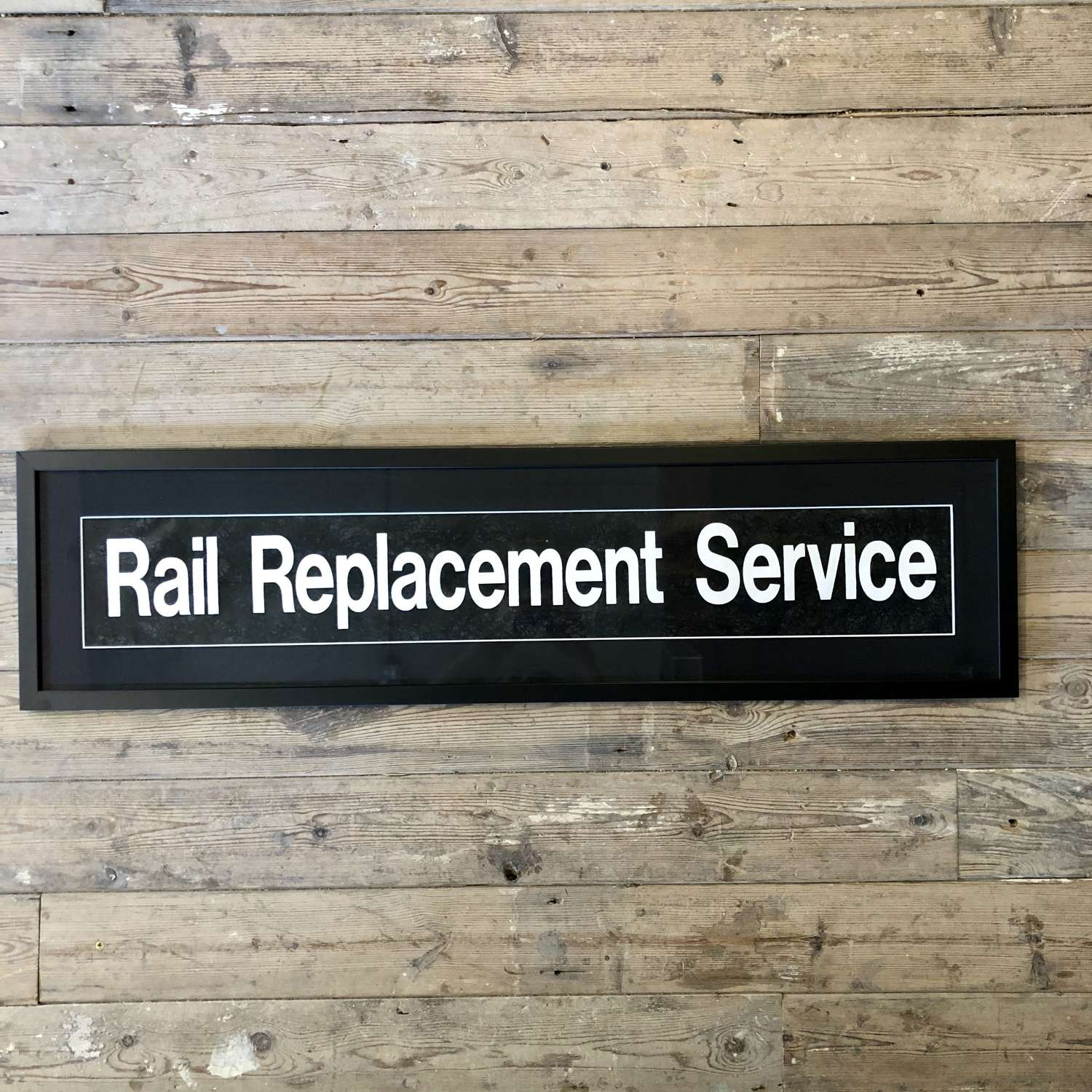 Vintage bus blind 'Rail replacement' Framed