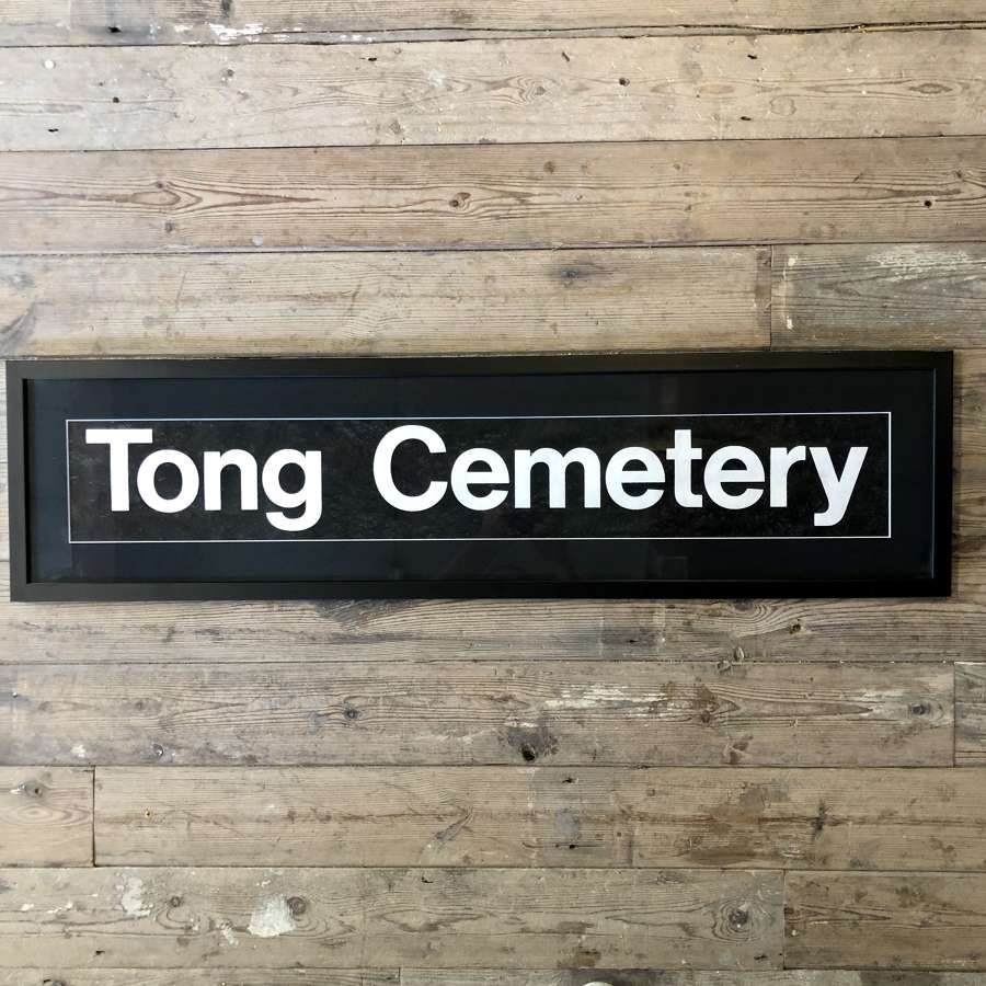 Vintage bus blind 'Tong cemetery' Framed