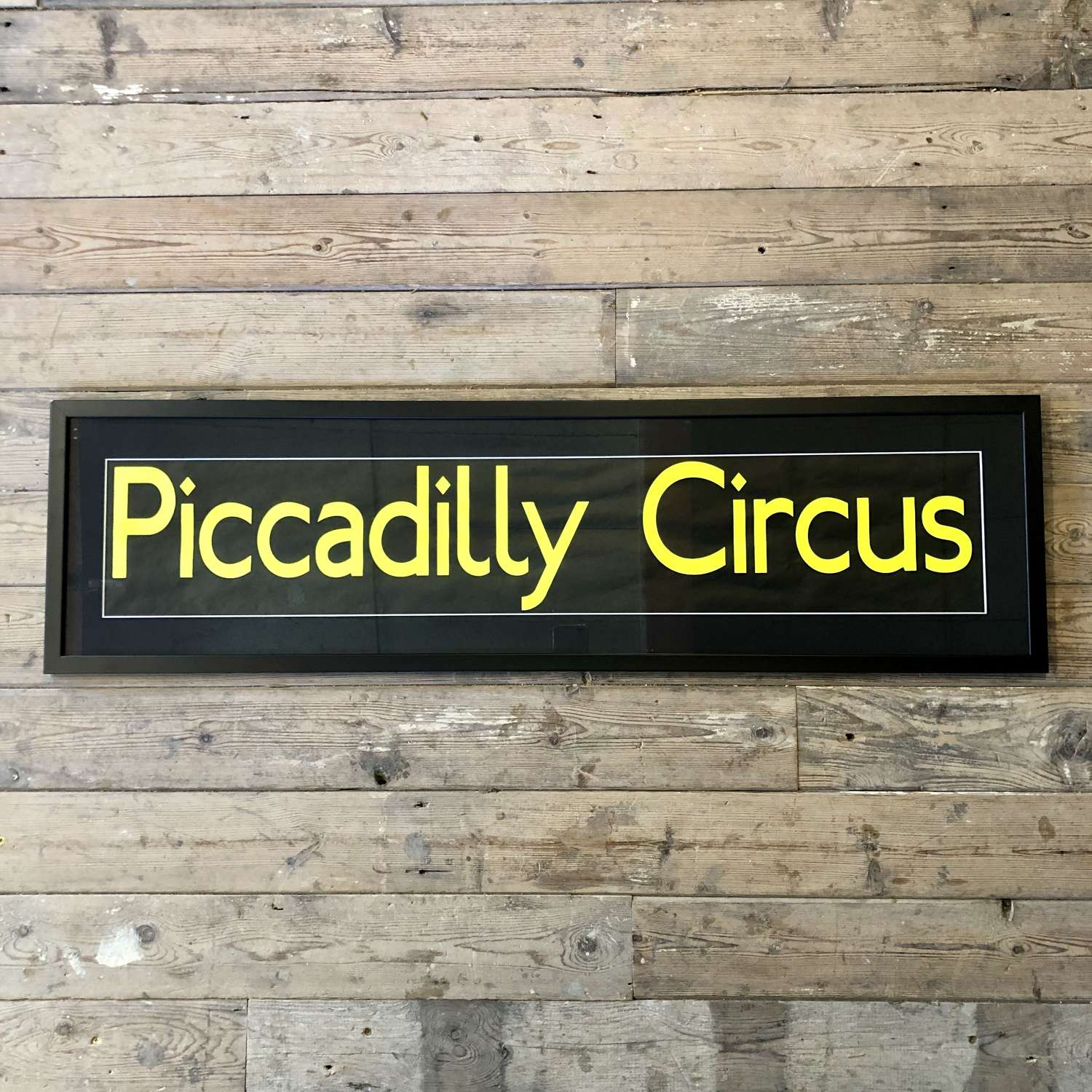 Vintage bus blind 'Piccadilly Circus' Framed