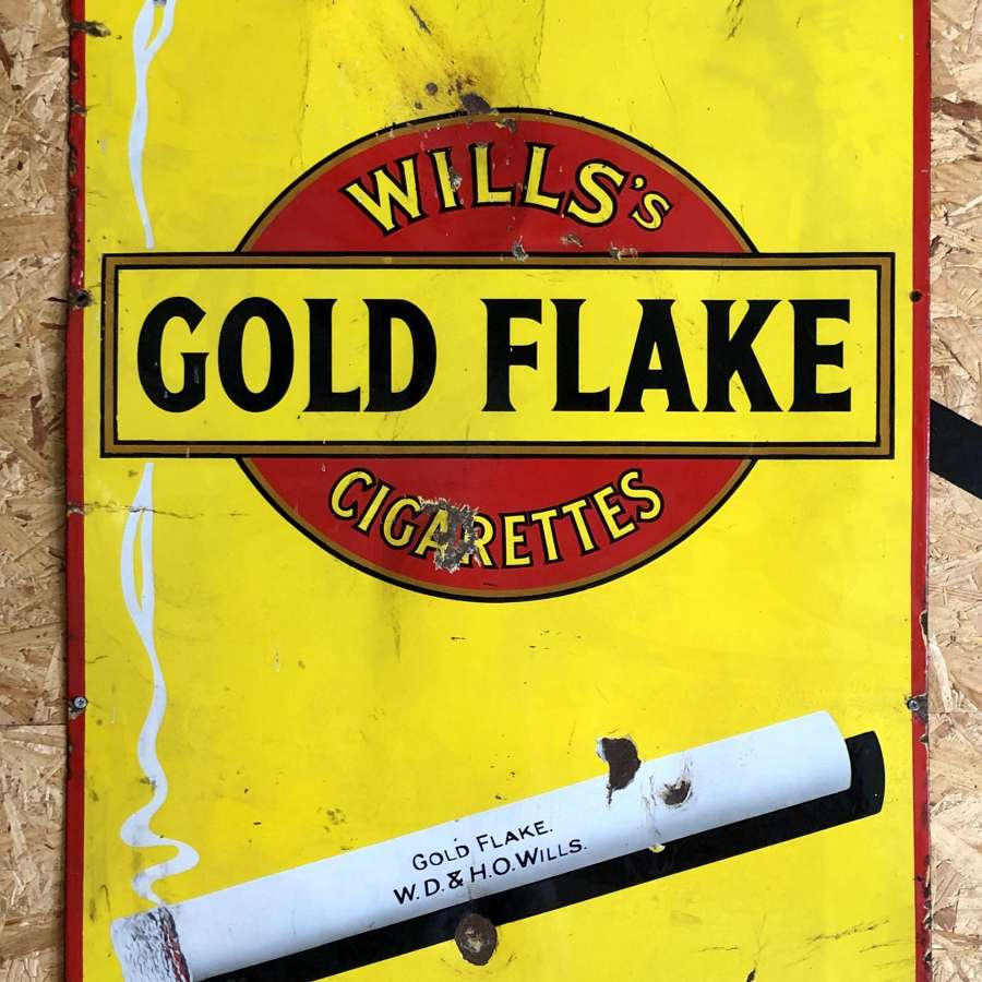 Vintage enamel sign 'Wills Gold Flake Cigarettes'