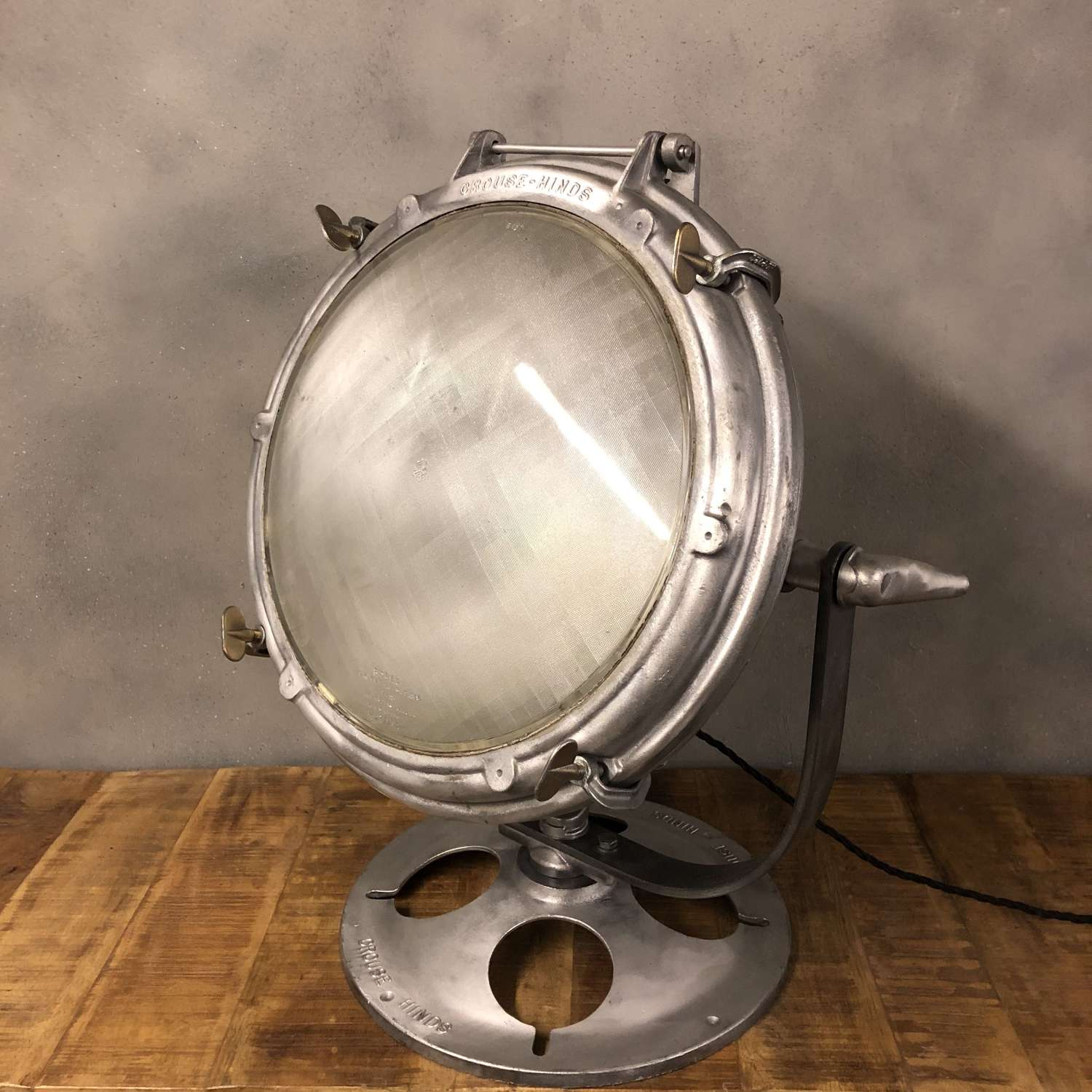 Midcentury search light US Navy Crouse & Hinds