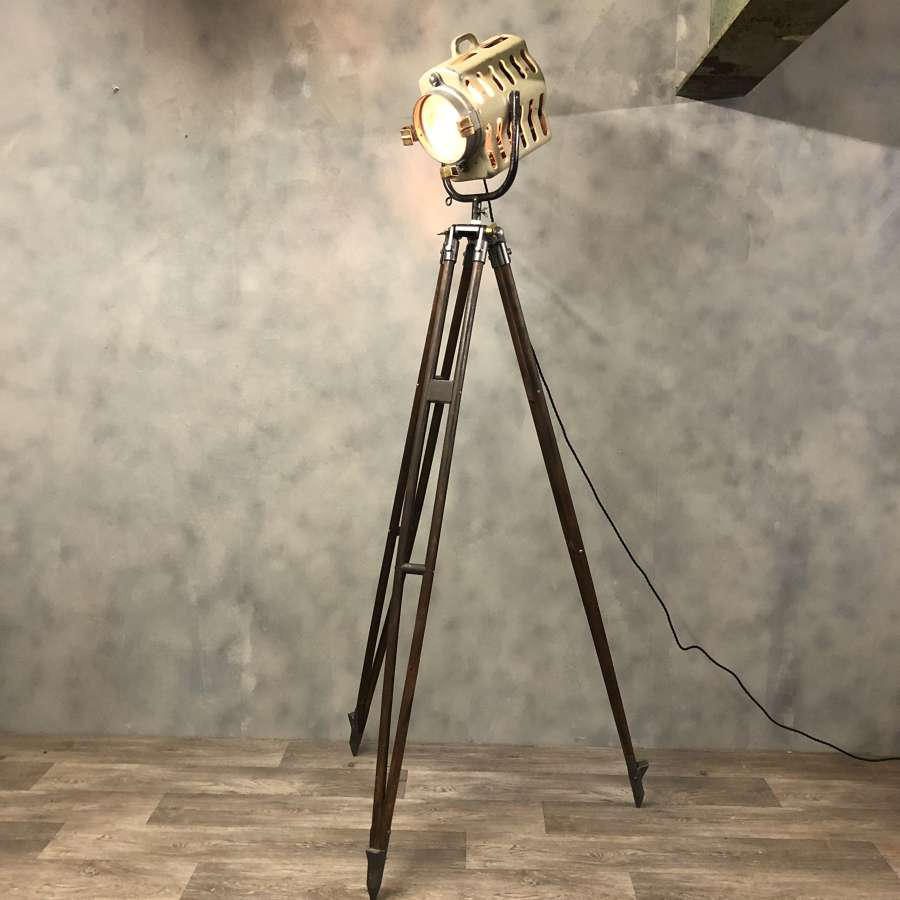 Midcentury theatre light tripod