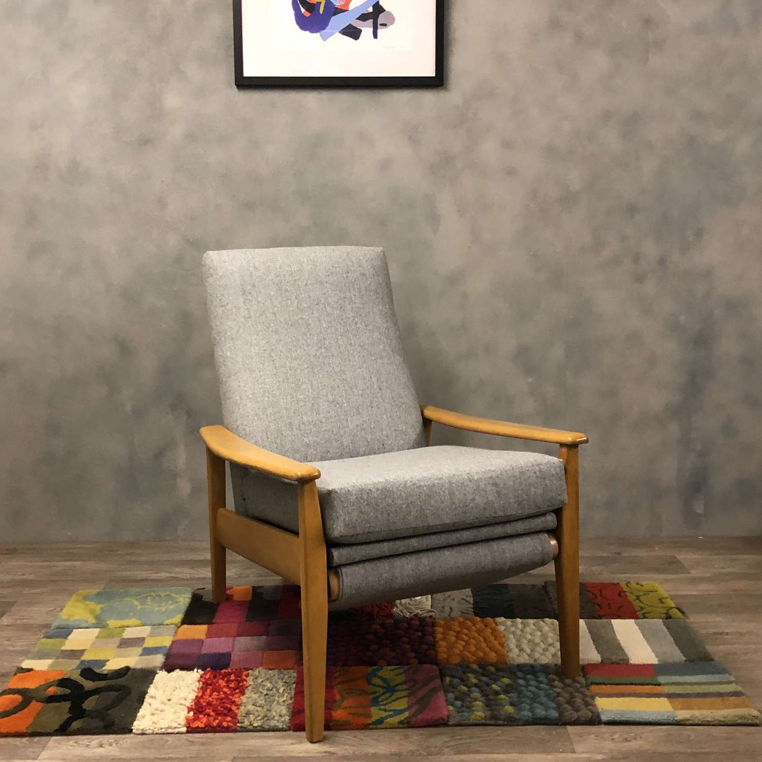 Grey Greaves and Thomas midcentury recliner lounge chair.
