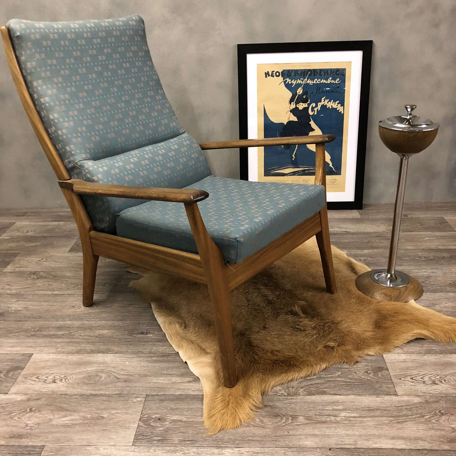 Midcentury lounge chair blue