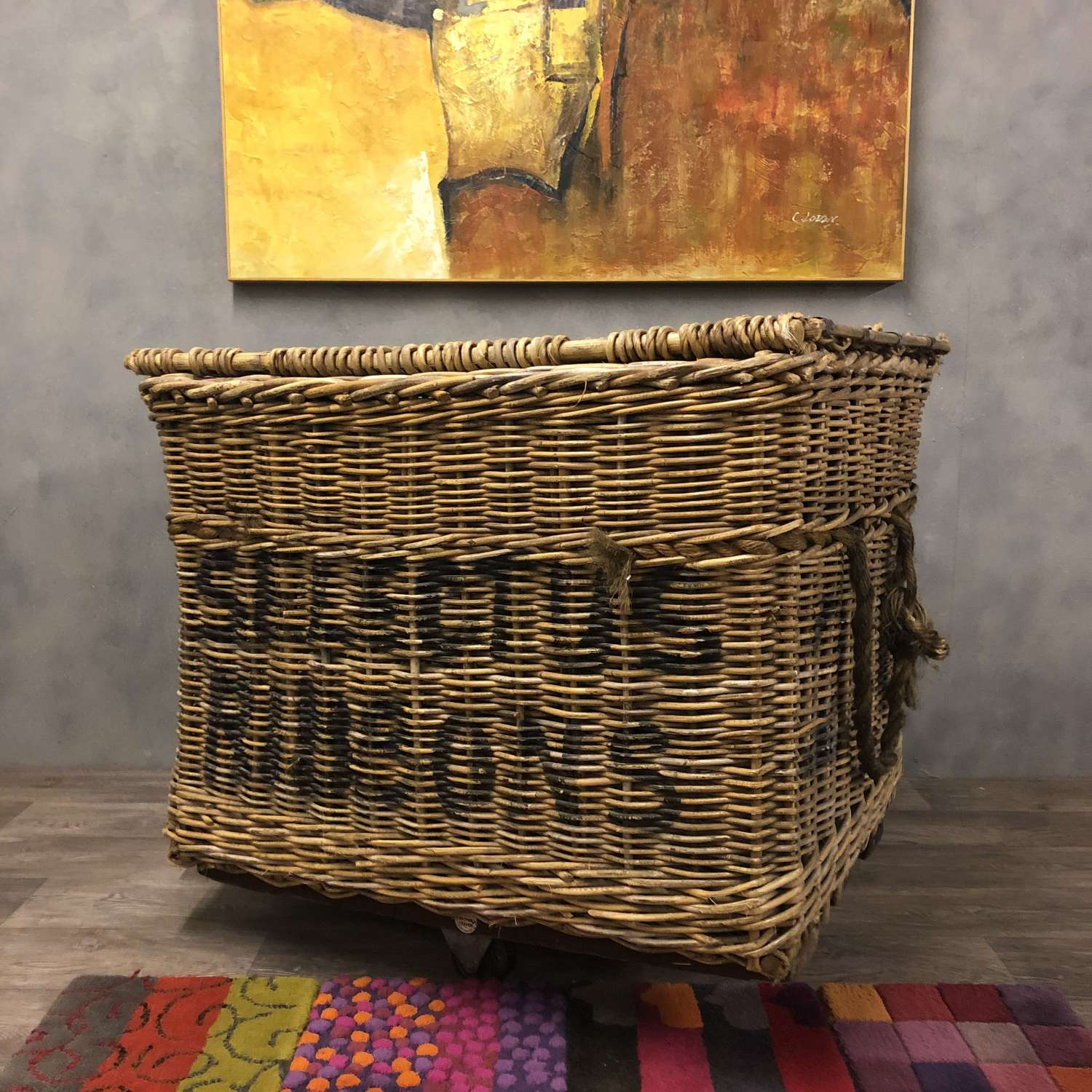 Yorkshire Mill Wicker Basket. Large. Laundry Basket or Toy Basket.