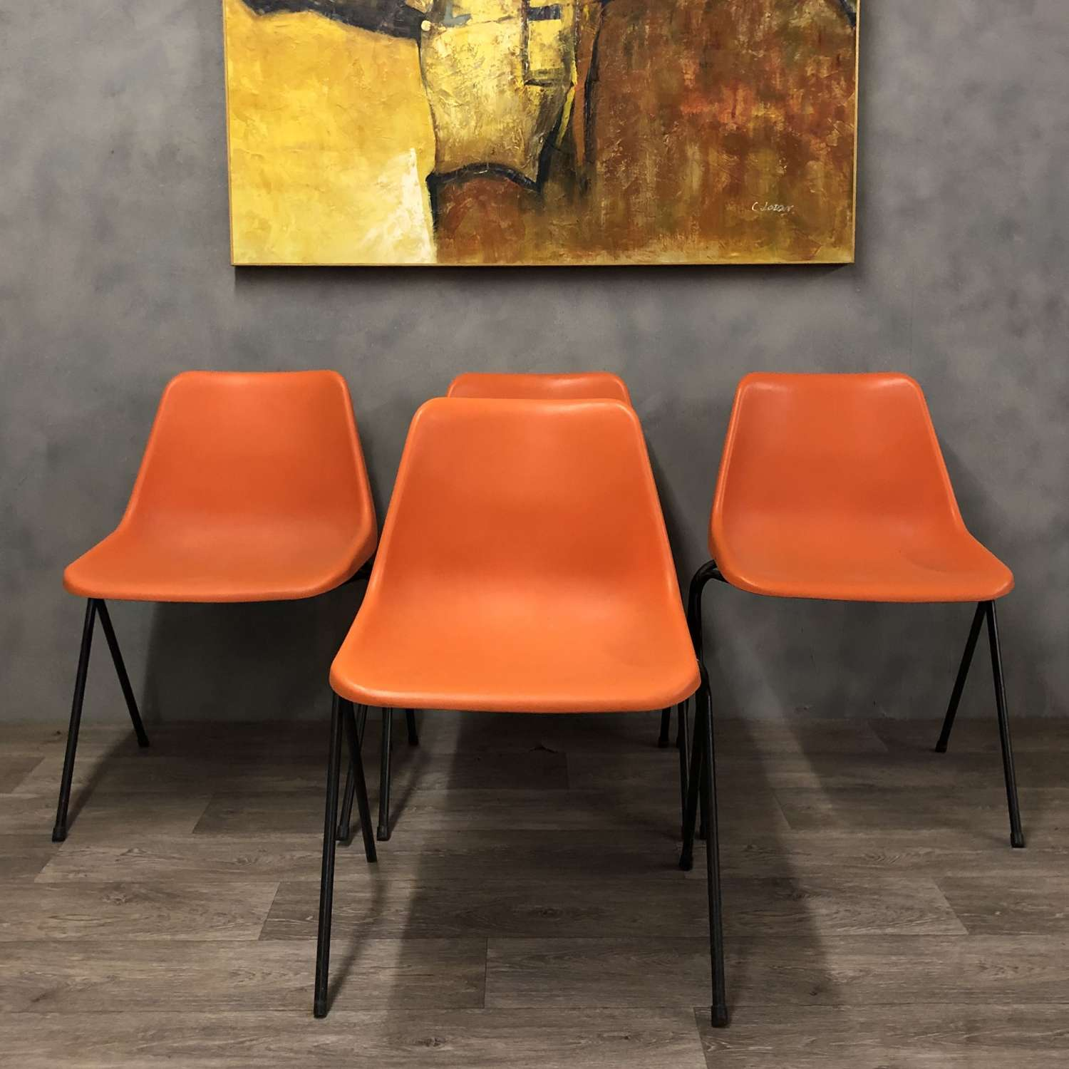 Set of 4 Orange Hille Robin Day Poly Side Plastic Chair
