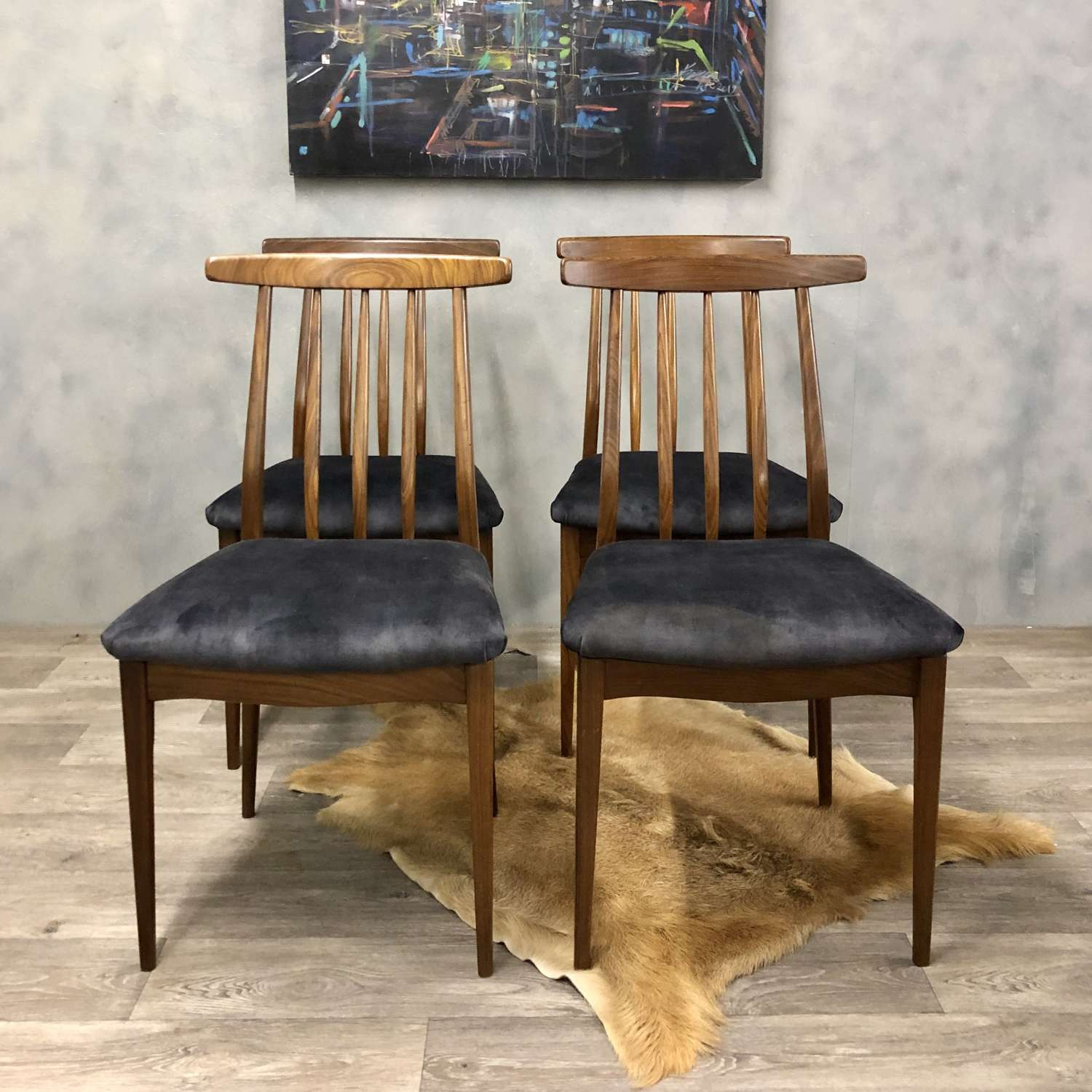 Midcentury Dining Chairs A Younger Afromosa Grey Velvet
