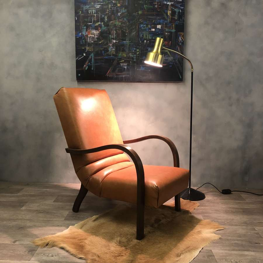 Bauhaus style leather lounge chair