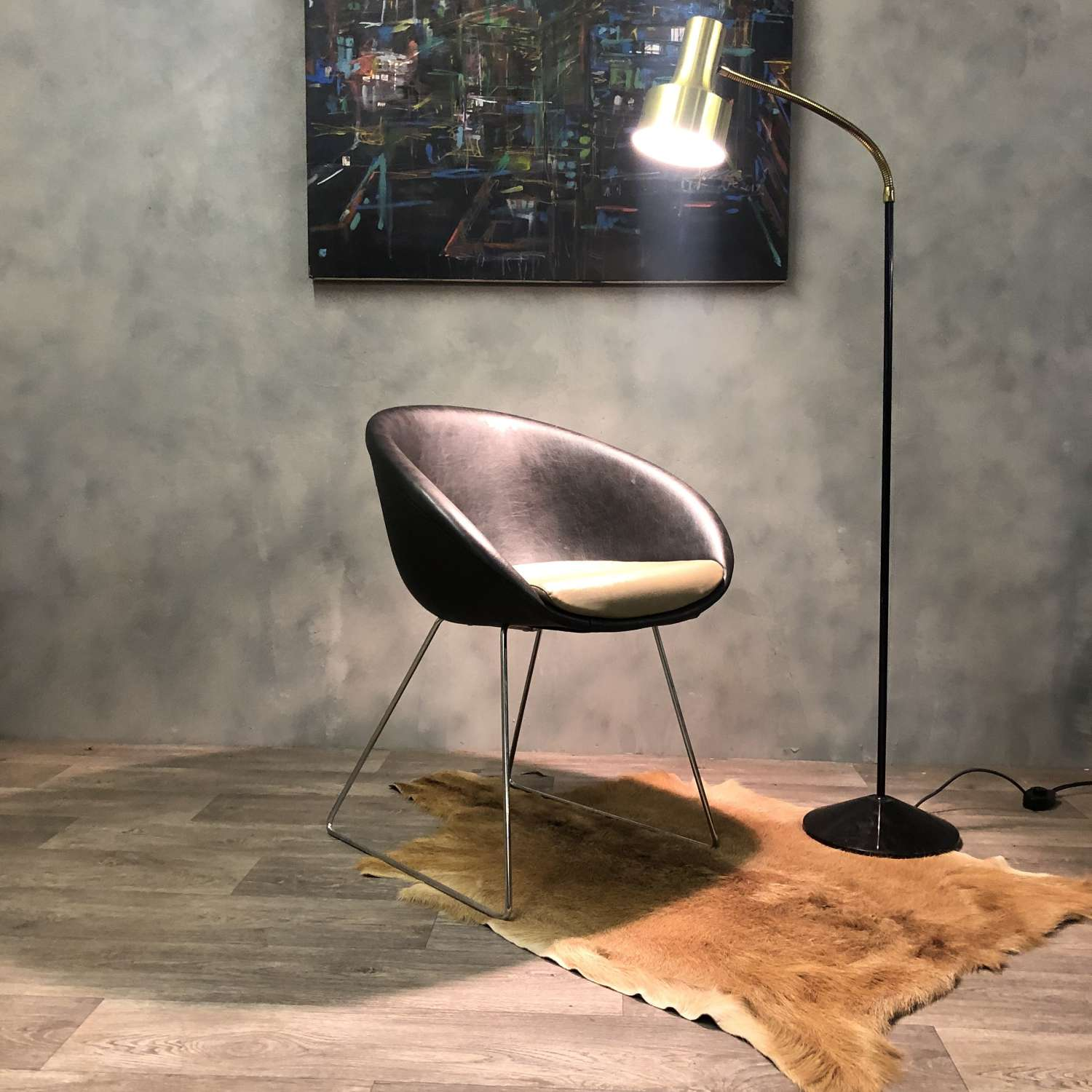 Italian 'Gliss' Leather Chair by Pedrali in Black Olive