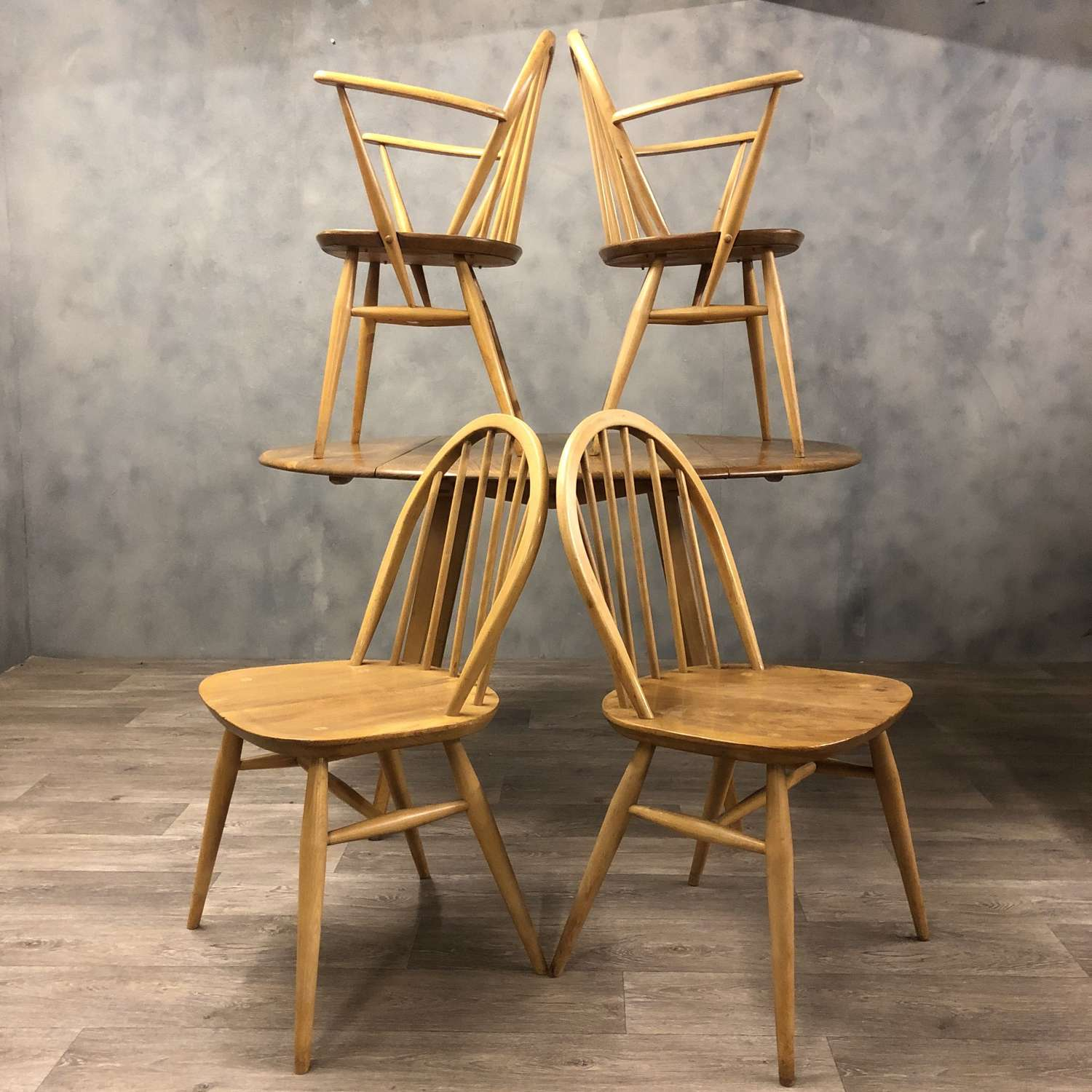 Midcentury Ercol Windsor dining chairs (6) Beech and Elm